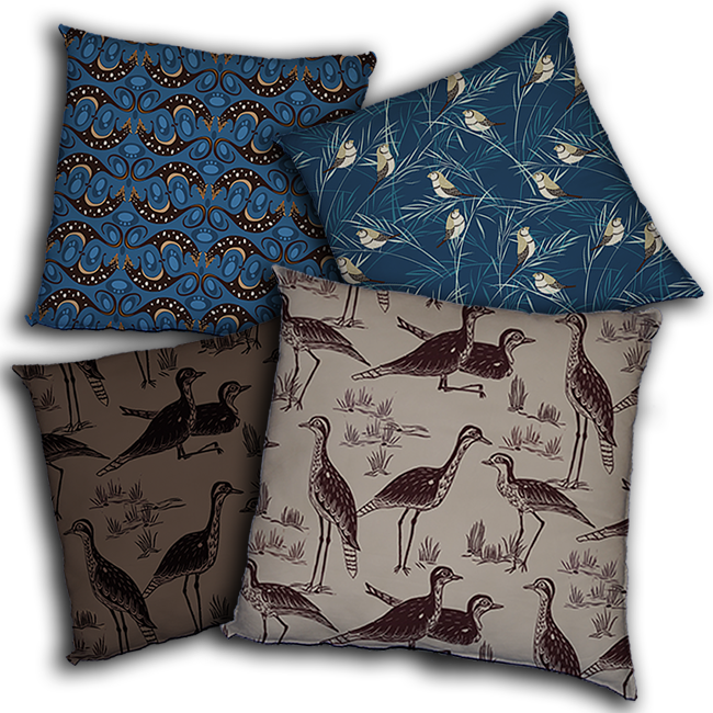 cushions: stealing curlews, sway, QuollCirliQue