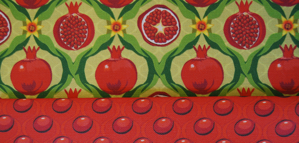Papa's pomegranates and Papa's pomegranate seeds printed fabric