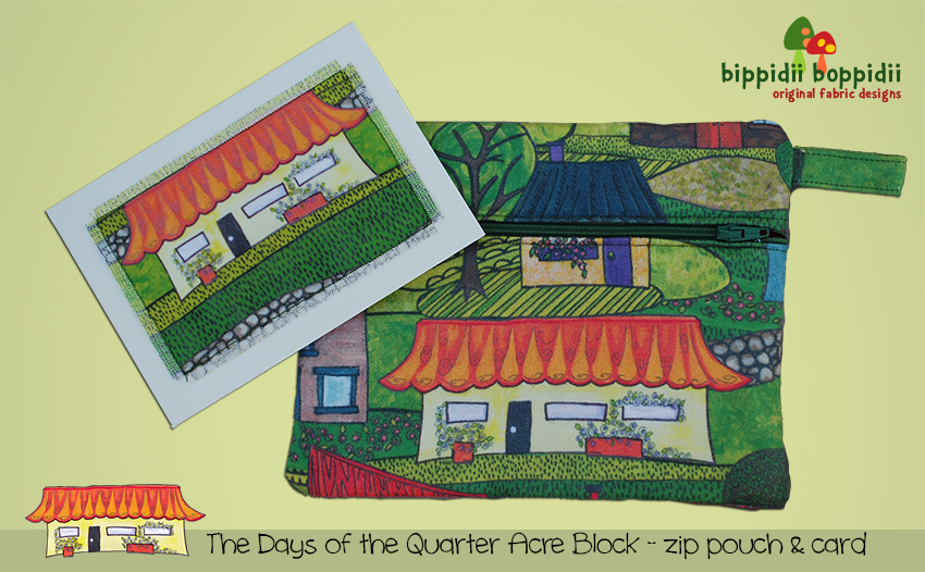 Zip pouch & card: the days of the quarter acre block