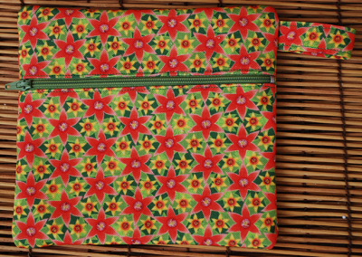 Zip pouch: Papa's pomegranate flowers