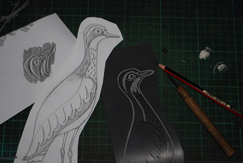Lino block in the making: bush stone curlew