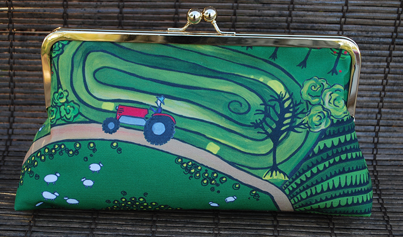 Clutch purse: down on the farm (tractor)