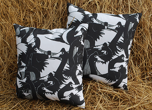 Cushions: geese in the 'hood