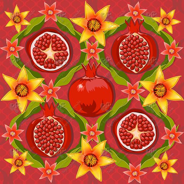 Papa's pomegranates: cushion panel