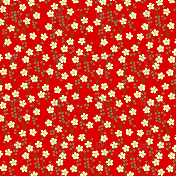 cherry blossom (cream on red)