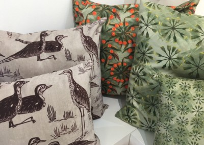 stealing curlews and wattle blossom cushions