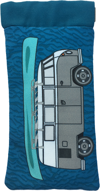 kombi-mania (grey on blue)