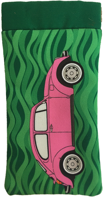beetling around (pink on green)