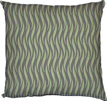 who, me? (green leaves on grey) cushion